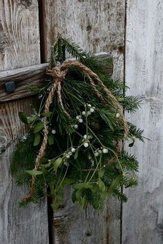 Yule style!! Modern Farmhouse Winter Holiday, noel, Christmas - Mistletoe in a pretty bunch hung by twine!!