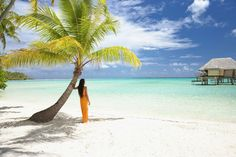 Pacific Islander woman standing under palm tree on tropical beach by Gable Denims on 500px