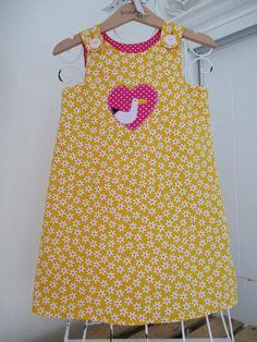 Reversible Dress pinafore Daisy print fabric Baby by beadiesbyjo