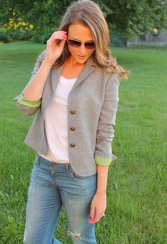 Penny Pincher Fashion: DIY Blazer Makeover; cutting off pockets and changing buttons can revive a thrifted blazer!
