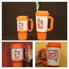 24 oz or 16 oz? Take your pick – our Hot & Cold Travel Mugs come in both & are available at participating U.S. DDs!