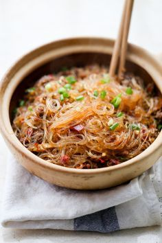 17 Insanely Delicious Stir-Fry Noodles That'll Only Take 15 Minutes, glass noodles aka saifun.
