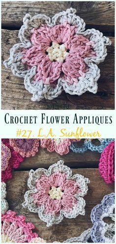 The L.A. Sunflower Free Crochet Pattern -Easy #Crochet #Flower Appliques Free Patterns