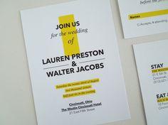 This modern wedding invitation and RSVP features a yellow highlight.