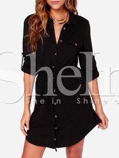 Black Long Sleeve Waistband V Neck With Button Dress 19.99