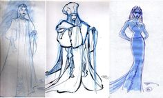 """Early concept art of Elsa from Disney's """"Frozen"""" (2013).  Love the middle rendition with the thick robes and hat- so very unlike any other princess design!"""