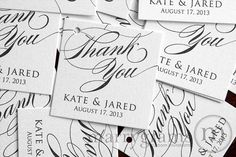 Favor Tags - Thank You - Wedding Favor Tags Script Custom with Names and Date - Gold, Tiffany Blue, Silver, Ivory (Set of 24)