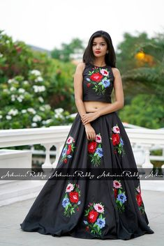 Beautiful black color skirt and crop top with floral design hand embroidery thread work. 27 October 2017