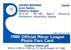 1980 TCMA Lynn Sailors #15 Mickey Bowers Back