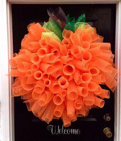 Fall Pumpkin Deco Wreath on Etsy, $50.00