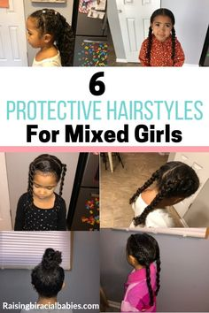 Looking for mixed girls hairstyles? Take a look at these great protective hairstyles for biracial hair! These cute protective hairstyles for biracial hair are great for keeping moisture in your mixed girl's hair. They also make detangling much easier! Mixed Curly Hair, Mixed Hair Care, Curly Hair With Bangs, Curly Hair Tips, Curly Hair Care, Curly Hair Styles, Curly Girl, Mixed Kids Hairstyles, Baby Girl Hairstyles