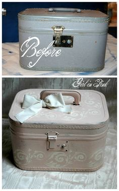 Girl in Pink: Revisiting an Old Favorite and a Few New Projects Painted Suitcase, Suitcase Decor, Suitcase Table, Vintage Suitcases, Vintage Luggage, Shabby Chic Furniture, Diy Furniture, Modern Furniture, Furniture Design