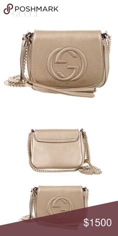 """NWOT GUCCI SOHO CHAIN GOLDEN BEIGE CROSSBODY BAG NWOT GUCCI SOHO CHAIN CROSSBODY BAG. This gorgeous Gucci Soho Chain crossbody bag features gold-tone hardware, chain-link shoulder strap w tassel accent, embossed interlocking GG at front face & magnetic snap closure. Int: 1  pocket. Lining: Cream Canvas. Ext: Golden Beige Metallic Leather/Champagne. Approx Measurements: Shoulder Strap D 22"""", H: 6"""", W: 7"""", D: 2"""". Dust bag & papers included. Condition: Excellent-NWOT. Includes dust bag Posh…"""