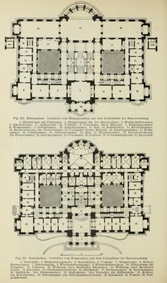 The Kaiser's residence in Elsass-Lothringen (late XIX century). Architecture Mapping, Classical Architecture, Architecture Plan, Architecture Details, Building Plans, Building Design, Floor Plan Drawing, Plan Sketch, Le Palais