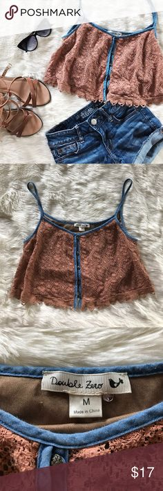 Lace Crop Top EUC! Perfect for festival season! In a beautiful burnt orange color. Bralette built in. Crochet detailing. Bundle and save! Double Zero Tops Crop Tops