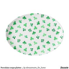 Porcelain coupe platter with clover leaves