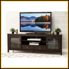 Dress up your home theater with this Charleston TV console from Abbyson Living. The rich espresso finish, solid wood construction and elegant glass doors give this TV console a contemporary look that Tv Stands, Tv Media Stands, Solid Wood Tv Stand, Thing 1, Cabinet Styles, Cool House Designs, Adjustable Shelving, Living Room Furniture, Family Room