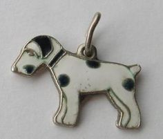 STERLING SILVER & ENAMEL CHARM ' FOX TERRIER'