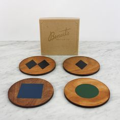 Benoit's Design Co. Sold in a set of four, gift box included. Trail Signs, Old Bar, Wood Coasters, Blue Square, Laser Engraving, Birch, Mystic, Skiing, Cabin