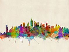 New York City Skyline Art Print by ArtPause | Society6