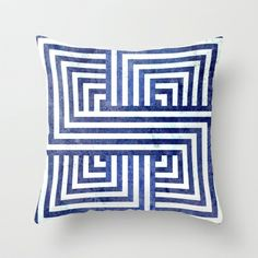 Navy Nautical Stripes In & Out Throw Pillow by House of Jennifer - $20.00