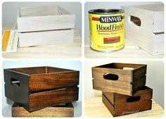 DIY Rustic Wood Crate...maybe black...to contain blankets in FR?