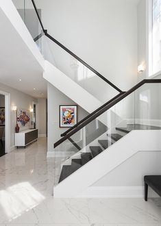 Stairs Toronto Renovation - Super Seven Group Glass Stair Railing, Glass Stairs Design, Staircase Design Modern, Staircase Contemporary, Luxury Staircase, Modern Stair Railing, Home Stairs Design, Stair Railing Design, Stair Decor