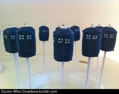 TARDIS cake pops from Mr. Pop bakery.