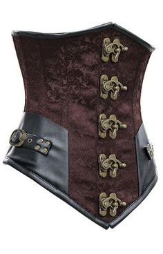 1293 Brown Steel Boned Steampunk Underbust Corset with Black Faux Leather by RamonaS
