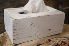 Tissue Box Cover Holder handmade using genuine naturally aged distressed upcycled reclaimed wood and 3/16 Masonite. Hand painted white with a distressed finish for a rustic shabby chic look and feel. Purchase the item as pictured (White - #1) or choose the color you would like from our