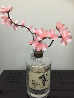 Made from Japanese whiskey bottle using recycled pink ribbon and fairy lights Fairy Lights, Whiskey Bottle, Perfume Bottles, My Etsy Shop, Ribbon, Japanese, Pink, Beauty, Upcycled Crafts