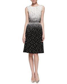 B2SW0 Oscar de la Renta Sleeveless Dotted Dress, Ivory/Black