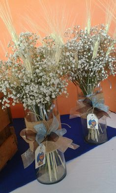 Resultado de imagen para gypsophila and wheat centerpieces first communion Boy Baptism Centerpieces, Wheat Centerpieces, Communion Centerpieces, First Communion Decorations, First Communion Party, Baptism Decorations, Baptism Party, First Holy Communion, Boys First Communion Cakes