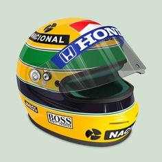 Senna's Helmet - A tribute to the best Brazilian Formula One driver of all times, Ayrton Senna, dead in May 1st, 1994. (http://treetog.deviantart.com/)