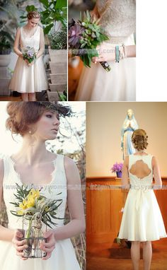 Short V-neck A-line Wedding Dress  with Peals on the Waist,lace wedding dress