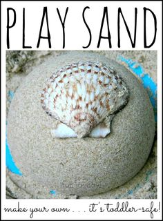 Toddler-Safe PLAY SAND & Beach Small World.  Make your own with just 2 household ingredients . . . and it's edible!  Fun sensory play experience for kids of all ages!