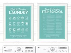 SET 'The Laundry and Stain Removal' Mid Century - 11x14 print set - Guide, Procedures, Room, Retro, Sign, Mid-Century, Stains, Decor, Art. $42.00, via Etsy.
