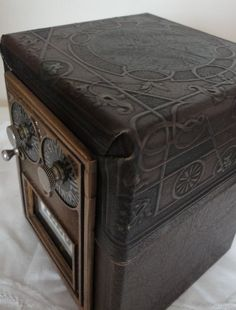 Leather embossed wood vintage post box, good for guestbook.