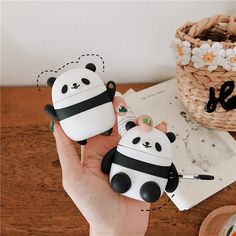 Cute Panda Bluetooth Earphone Case For Apple AirPods 1 2 Cartoon Silicone Headphone Protective Cover For Air pods 2 Charging Box