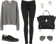 Outfits With Vans | Eleanor inspired river cruise outfit with mono black Vans. Requested ...
