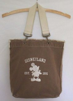 Mickey Mouse Disneyland Tote Bag Distressed Canvas Khaki Large Shopper #Disney #TotesShoppers