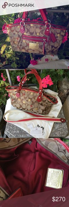 Poppy Secret Admirer Satchel Super cute and rare! Purchased on Valentine's four years ago! Like new! Used a couple of times! One small smudge on the inside near cell phone pocket! Comes with dust bad and retail tags. Also the adjustable side straps! Coach Bags Crossbody Bags