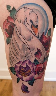 Swan Tattoos for Women | Neo traditional swan tattoo by Jason james