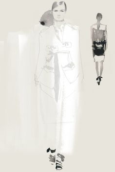 Fashion illustration - runway fashion sketch of models in Dries Van Noten // Bernadette Pascua