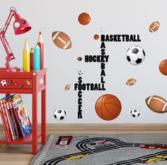 Boys Wall Decals ~ All Sports Wall Decals Design a great boys sports themed room for your child. Soccer, Baseball, Football, Hockey and Football vinyl words tha Boy Sports Bedroom, Sports Bedding, Kids Bedroom Boys, Boys Bedroom Decor, Baby Boy Rooms, Bedroom Ideas, Boys Sports Rooms, Basketball Bedroom, Kids Rooms