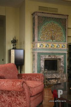 Фото интерьера каминной многоуровневой квартиры-пентхауса в стиле модерн