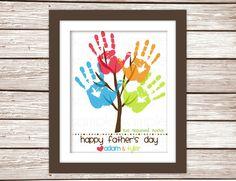DIY Childrens Primary Colors Handprint Tree Custom Art Print - Fathers Day Gift Printable PDF via Etsy