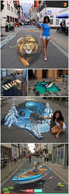 This Amazing Artist Creates Incredibly Realistic Looking Art Work This Amazi. - This Amazing Artist Creates Incredibly Realistic Looking Art Work This Amazi… - 3d Street Art, Illusion Kunst, Illusion Art, 3d Chalk Art, Art 3d, 3 D Art, Cool Pictures, Funny Pictures, 3d Drawings