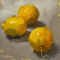 """Daily Paintworks - """"Lemons"""" - Original Fine Art for Sale - © Karen Werner"""