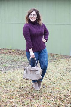 Rebecca Lately Rosegal Turtleneck Sweater Target Polka Dot Jeans Taupe Booties Street Level Stitch Fix Bag